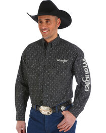 Wrangler Men's Black Cowskull Western Logo Shirt - Big and Tall, , hi-res