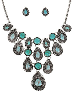 Shyanne® Women's Teardrop Concho Jewelry Set, Silver, hi-res