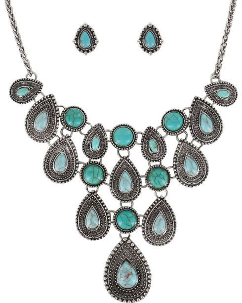Shyanne® Women's Teardrop Concho Jewelry Set, Silver, hi-res