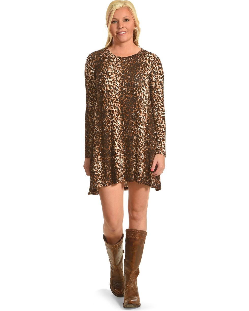 Derek Heart Women's Riva's Long Sleeve Leopard Swing Dress, Leopard, hi-res