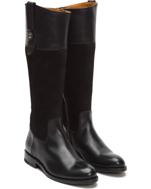 Frye Women's Black Suede Jayden Button Tall Boots , Black, hi-res
