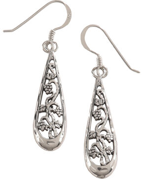 Silver Legends Women's Filigree Flower Dangle Earrings , Silver, hi-res