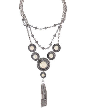 Shyanne® Women's Concho Layered Tassel Necklace, Silver, hi-res