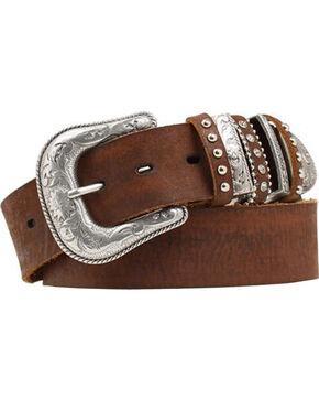 Nocona Bedecked Multi Keeper Leather Belt, Brown, hi-res
