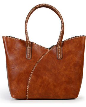 Shyanne® Women's Whip Stitch Shoulder Bag, Brown, hi-res