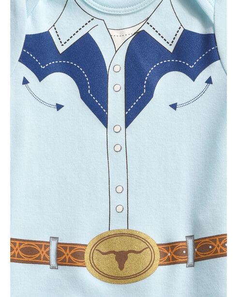 "Hers 'N Spurs Infant's ""Cowboy Shirt"" Onesie, Blue, hi-res"