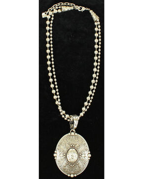 Blazin Roxx Floral Etched Oval Pendant Necklace , Silver, hi-res