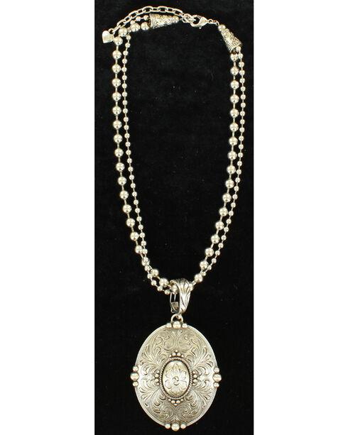 Blazin Roxx Floral Etched Oval Pendant Necklace , Silver, hi-res