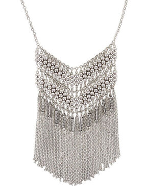 Shyanne® Women's Fringe Chevron Necklace, Silver, hi-res