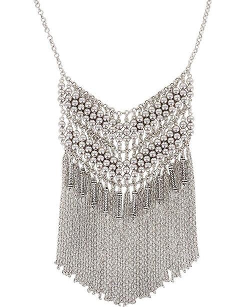Shyanne® Women's Fringe Chevron Necklace, Silver, hi-res