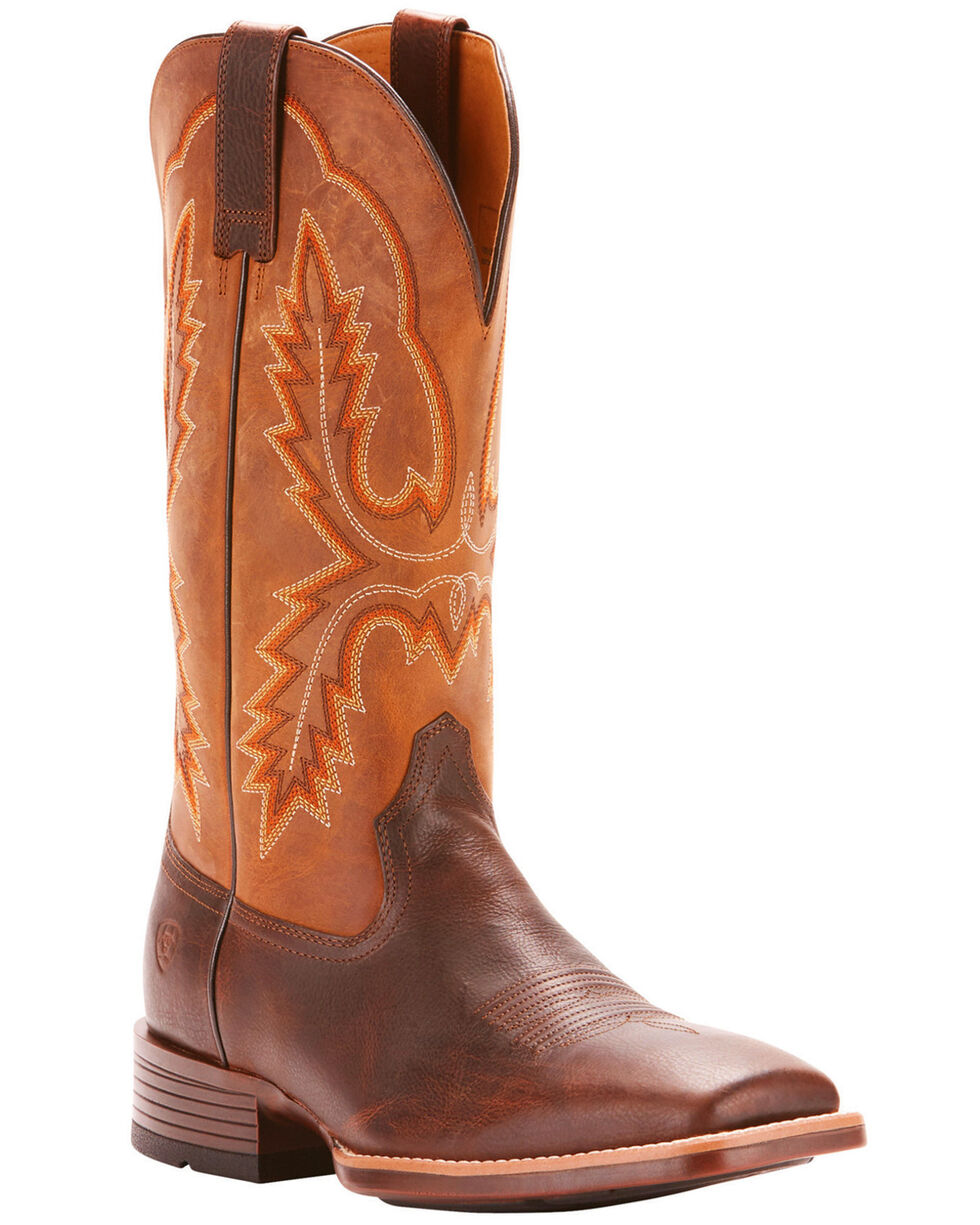 Ariat Men's Brown Pecos Leather Western Boots - Broad Square Toe , Brown, hi-res