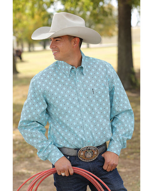 Cinch Men's Light Blue Modern Fit Basic Long Sleeve Shirt , Light/pastel Blue, hi-res