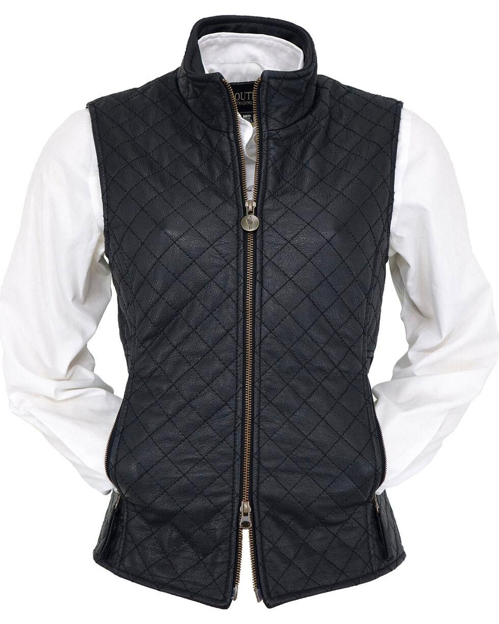 Outback Trading Co. Women's Black Bunbury Quilted Leather Vest, Black, hi-res