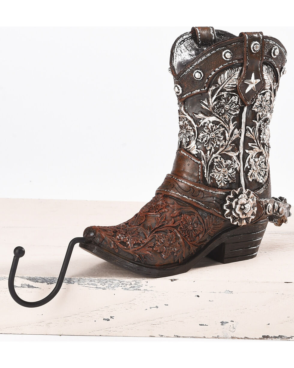 BB Ranch Western Boot Stocking Holder - Brown, Silver, hi-res