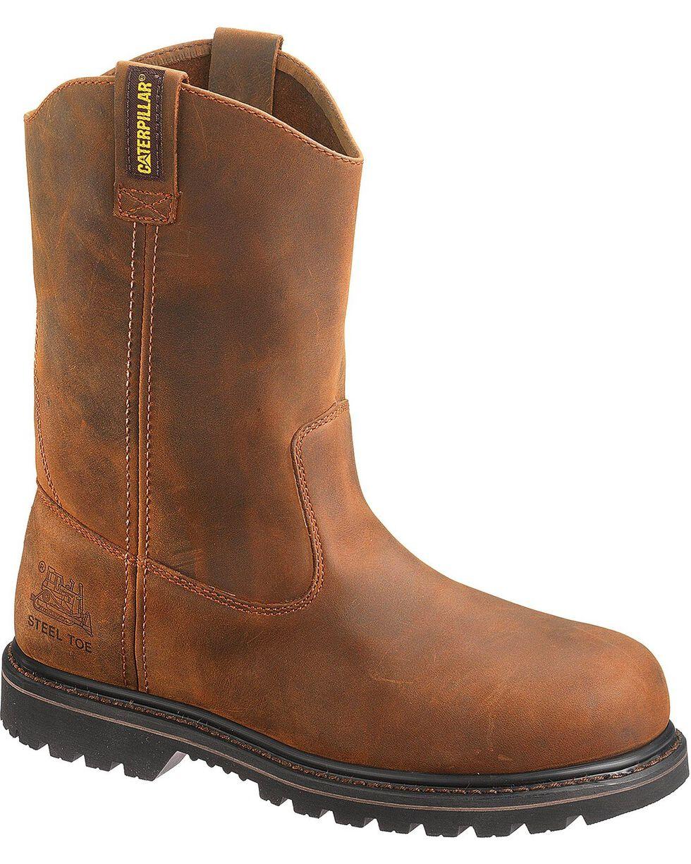 CAT Men's Steel Toe Edgework Wellington Work Boots, Mahogany, hi-res