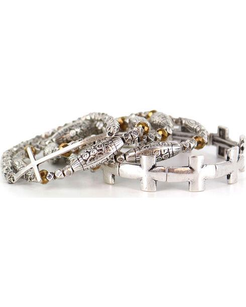 Shyanne® Women's Faith Layered Bracelets, Silver, hi-res