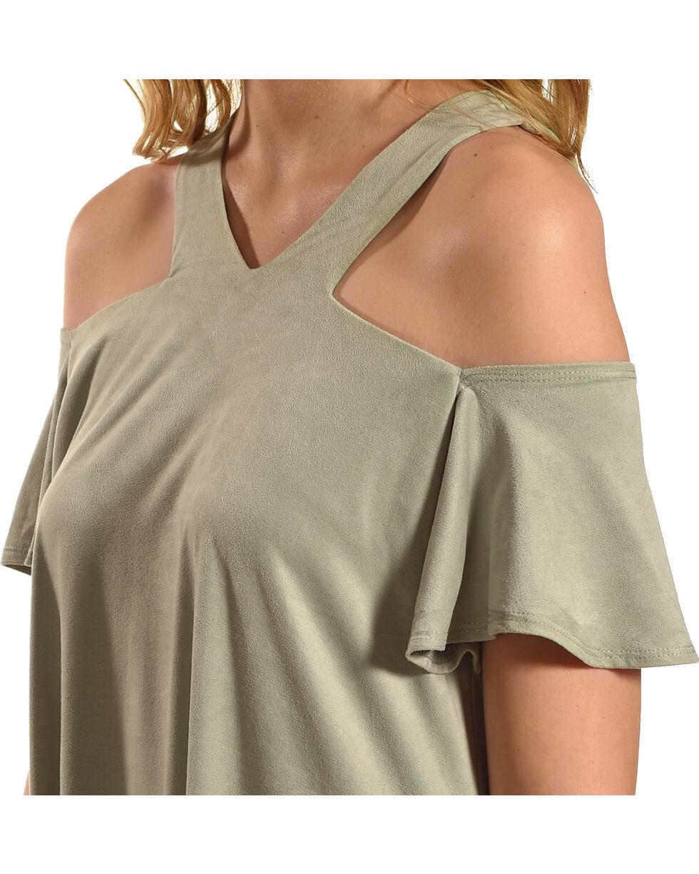 Jody of California Women's Sage Cold Shoulder Micro Suede Dress , Sage, hi-res