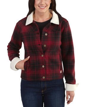 Carhartt Women's Cedar Sherpa Jacket, Red, hi-res