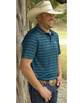 Cinch Men's Blue Stripe Short Sleeve Polo, Blue, hi-res
