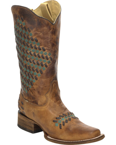 Corral Women's Woven Western Boots, Sand, hi-res