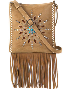 Blazin Roxx Women's Stella Fringe Messenger Bag, Brown, hi-res