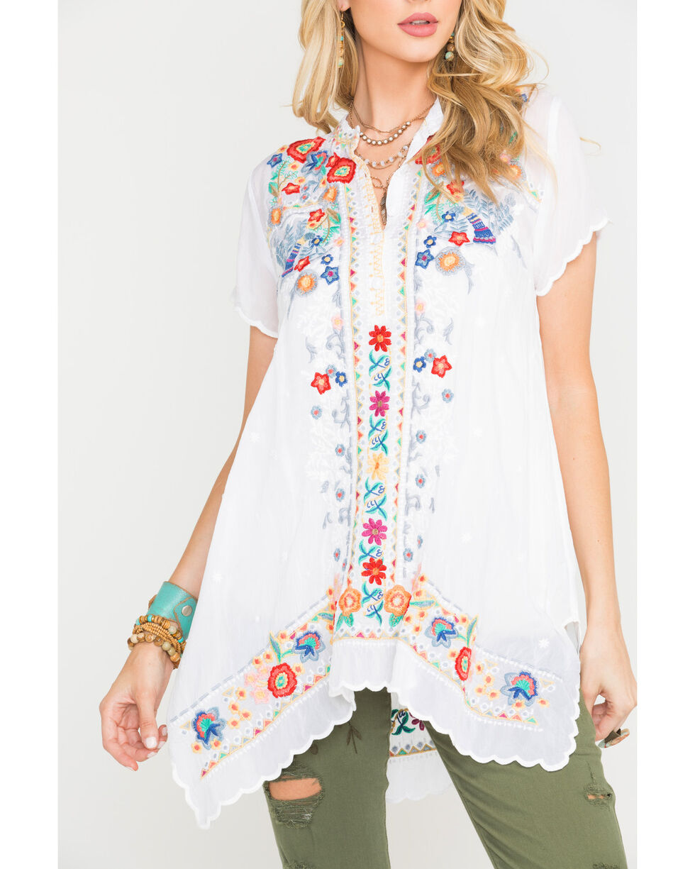 Johnny Was Women's White Mikones Tunic , White, hi-res
