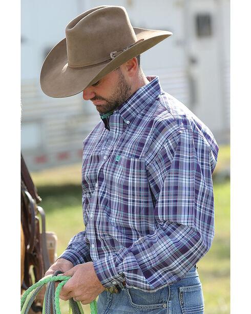 Cinch Men's Purple Long Sleeve Button Down Shirt , Purple, hi-res