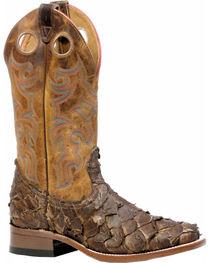 Boulet Men's Seal Brown Pirarucu Fish Cowboy Boots - Square Toe, , hi-res