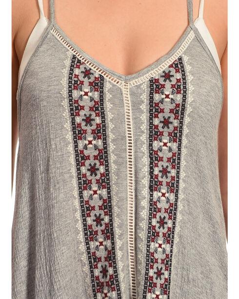 Shyanne® Women's Crochet Lace Flowing Tank Top, Heather Grey, hi-res