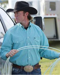 Cinch Men's Turquoise Print Long Sleeve Button Down Shirt, , hi-res