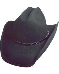 Scala Black Crushable Wool Cowboy Hat, , hi-res