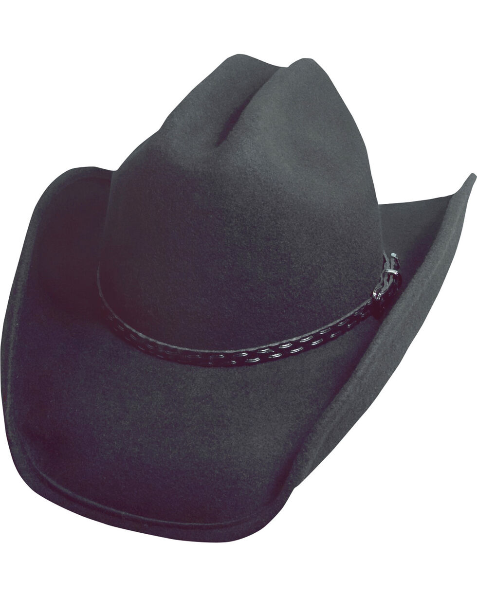 Scala Black Crushable Wool Cowboy Hat, Black, hi-res