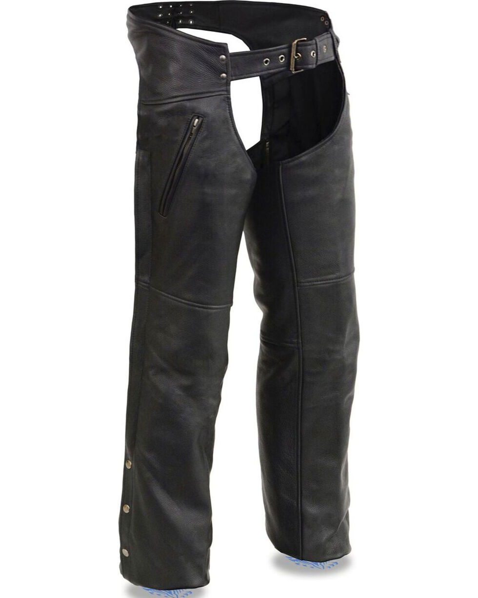 Milwaukee Leather Men's Cool Tec Leather Chaps - 4X, Black, hi-res