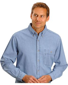 Wrangler Men's Rugged Wear Denim Shirt, Stonewash, hi-res