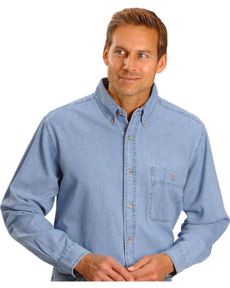 Wrangler Men's Rugged Wear Denim Shirt, Stonewash, hi-res