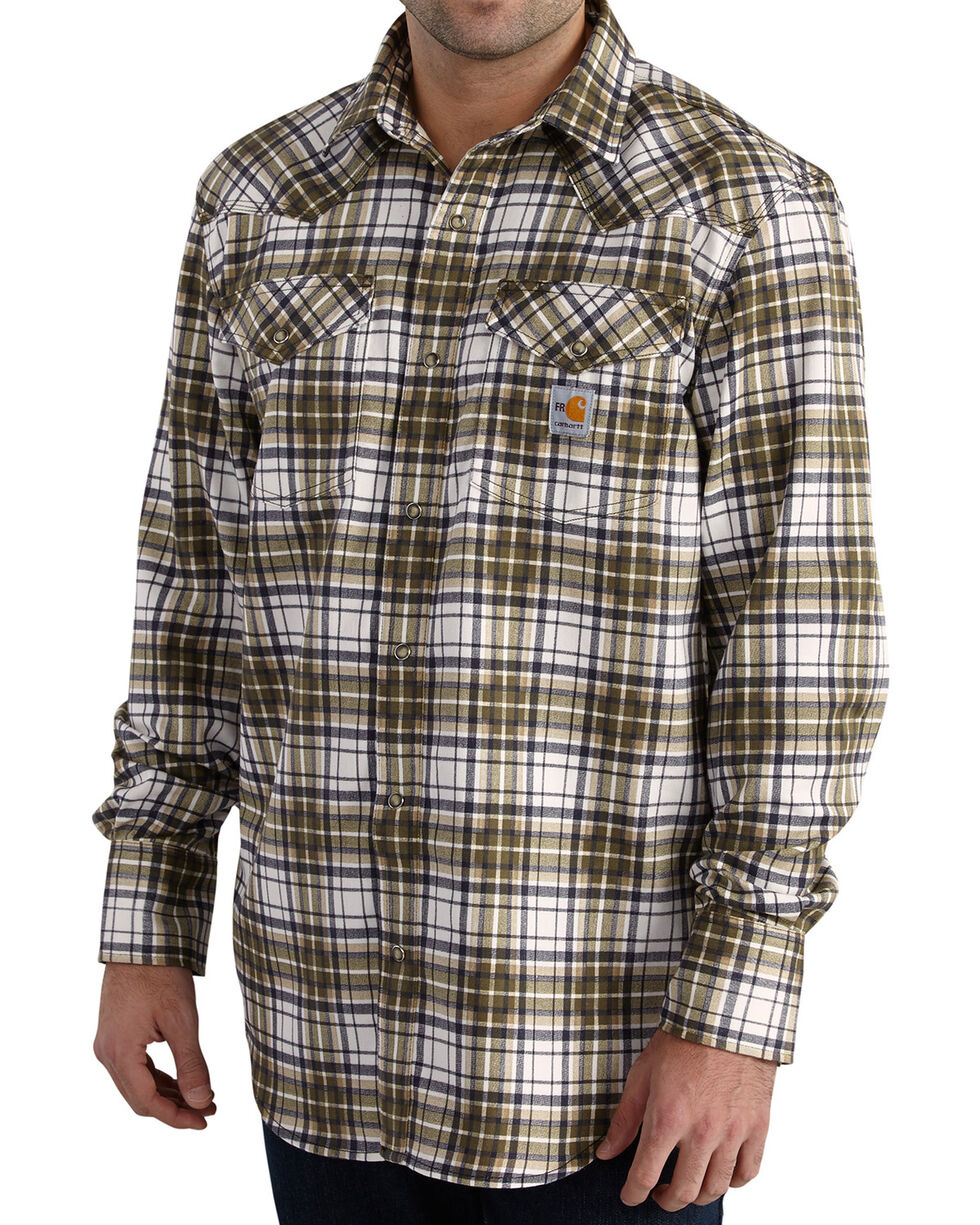 Carhartt Men's Moss Flame-Resistant Snap-Front Plaid Shirt - Tall , Moss Green, hi-res
