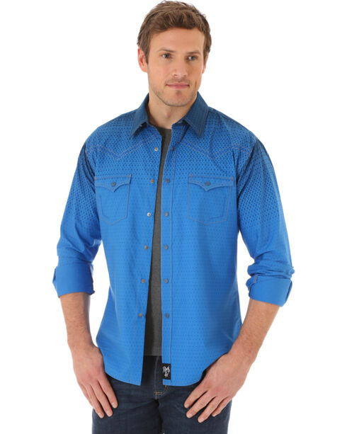 Wrangler Men's Pattern Long Sleeve Shirt  , Blue, hi-res