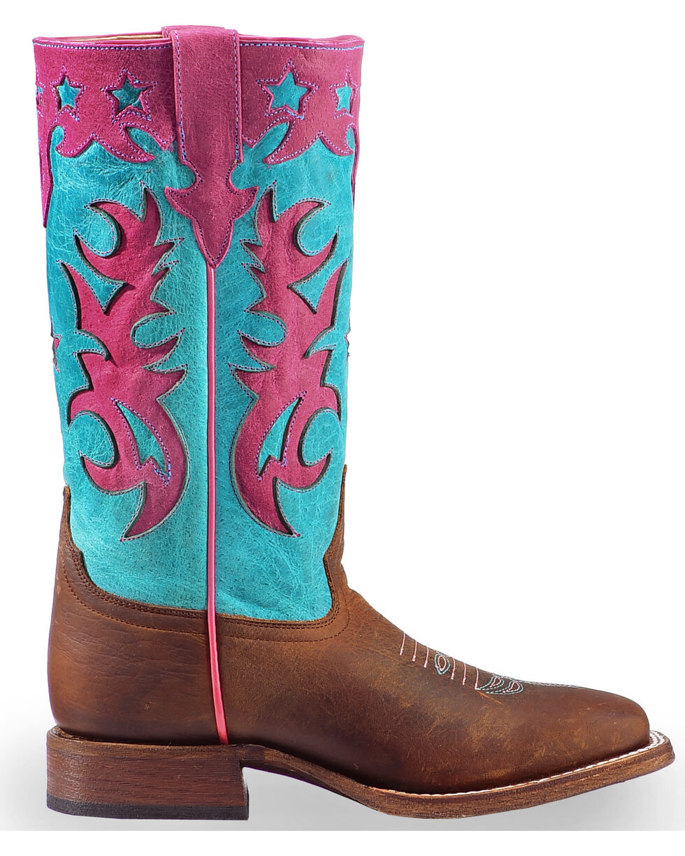 Macie Bean Girls' Turquoise Sinsation Cowgirl Boots - Square Toe , , hi-res