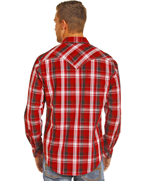 Rock & Roll Cowboy Men's Red Plaid Snap Up Western Shirt , Red, hi-res