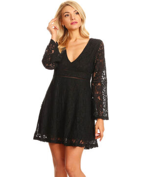 Young Essence Women's Black Lace V-Neck Dress , Black, hi-res