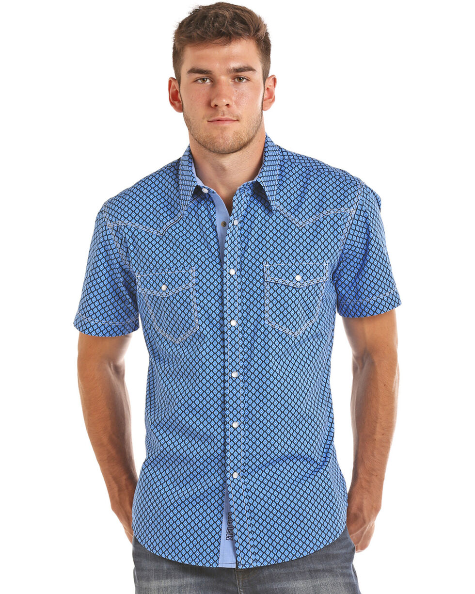 Rock & Roll Cowboy Men's Blue Enzyme Washed Poplin Print Shirt , Blue, hi-res