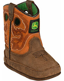 John Deere® Infant's Johnny Popper Western Crib Boots, Brown, hi-res