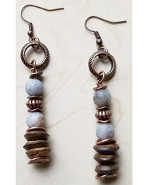 Jewelry Junkie Women's Frosted Bamboo Agate and Wood Earrings, , hi-res