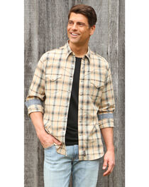 Wrangler Retro Men's Khaki/Blue Plaid Premium Long Sleeve Snap Shirt - Big & Tall, , hi-res