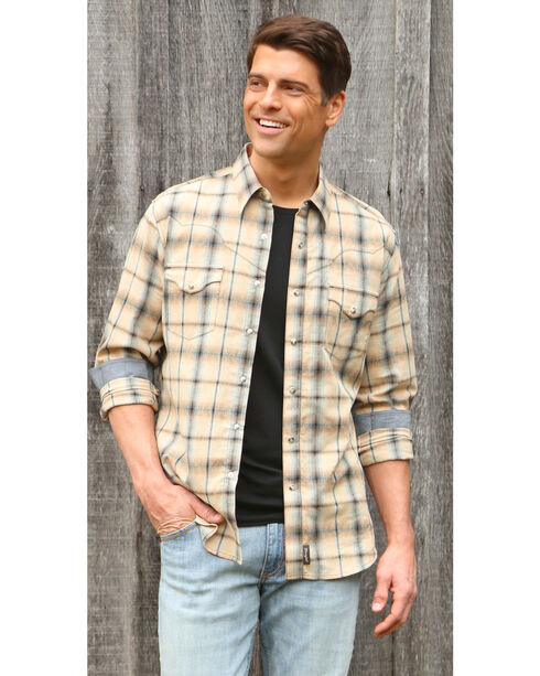 Wrangler Retro Men's Khaki/Blue Plaid Premium Long Sleeve Snap Shirt - Big & Tall, , hi-res