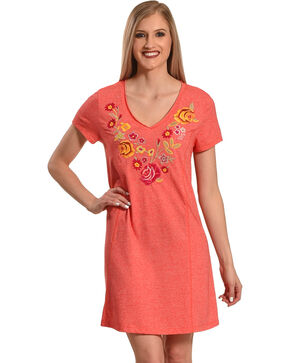 Harlow & Rose Women's Coral Embroidered Dress , Coral, hi-res