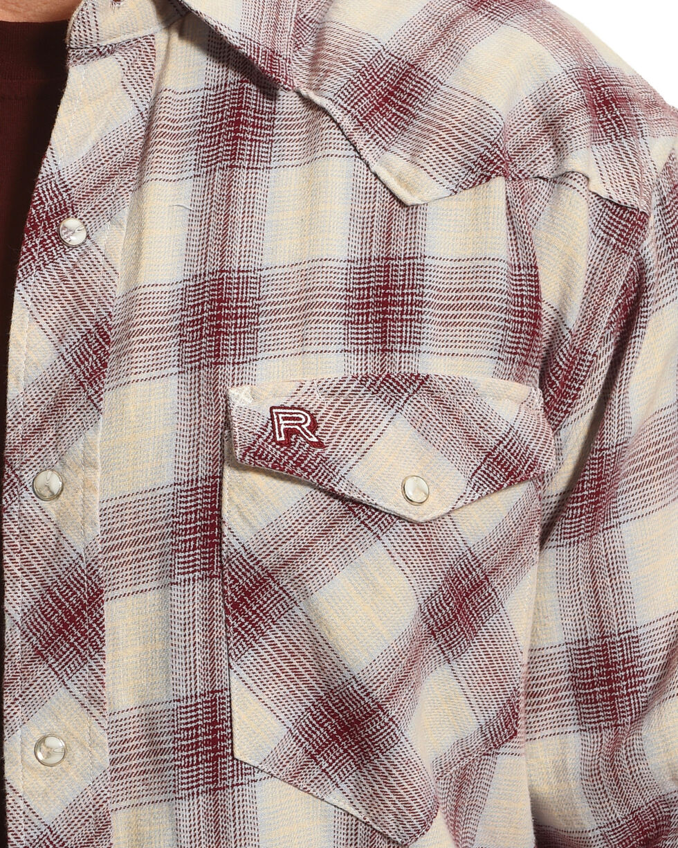 Resistol Men's Tan Higgston Plaid Western Shirt , Light Blue, hi-res