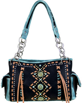 Montana West Women's Geometric Concealed Carry Handbag , Black, hi-res