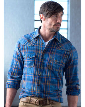 Ryan Michael Men's Exploded Indigo Plaid Shirt, Indigo, hi-res
