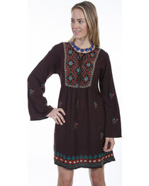 Scully Women's Brown Embroidered Peasant Dress, , hi-res